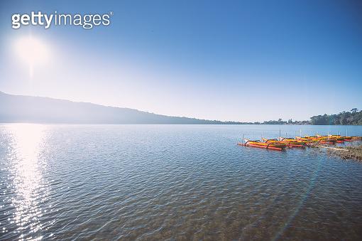 The main attraction of the Pura Ulun Danu Bratan at  Lake Beratan sunrise, Bali, Indonesia