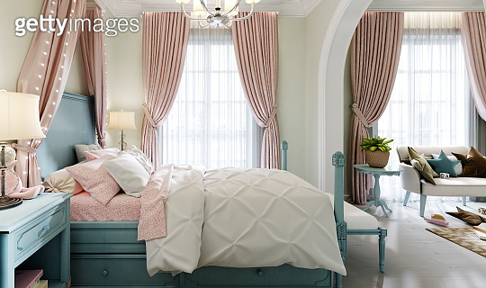 Children's bedroom with a large bed, a large window, bedside tables with books, a canopy above the bed, the interior color is pistachio, blue, pink, faded coral.