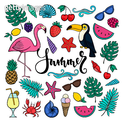 Big set of hand drawn cute cartoon summer symbols and objects for wrapping. design for holiday greeting card and invitation of seasonal summer holidays, summer beach parties, tourism and travel.