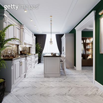 A classic kitchen with white furniture and green walls and a white floor with a ceiling, a kitchen island and a bar counter with three chairs.
