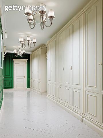 Classic style corridor with green walls and white doors and wood-paneled walls. Two large wardrobe closets. The paintings on the walls.
