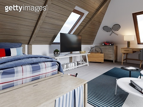 The design of the children's room for the teenager on the attic is in the loft style, the ceiling is hemmed with wood and the walls are white.