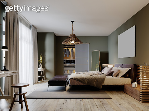 Modern loft style bedroom with a trendy bed and hanging chair.