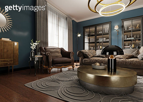 A modern eclectic living room in dark colors, with a soft leather sofa and an armchair. Black bookcase built-in wardrobe.