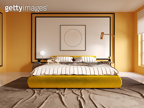 Design of a modern bedroom in yellow with a white headboard over the bed. Yellow bed.