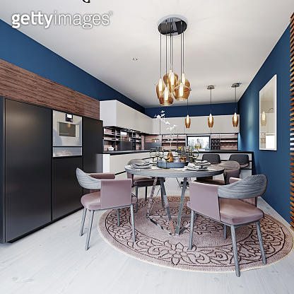 Luxurious multi-colored kitchen with dining tables in a new modern style. Furniture in white, black and brown, Walls of blue.