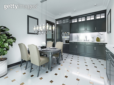 Black-white kitchen in a classic style.