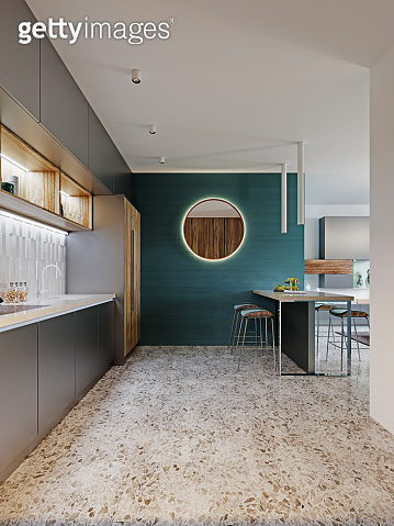 Contemporary kitchen, brushed metal gray and wood with vertical fiber furniture facade, built-in appliances and refrigerator. Floor tiles terrazzo.