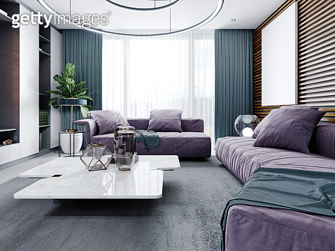 Modern soft sofas in the living room, purple with a white marble coffee table with interior decor.