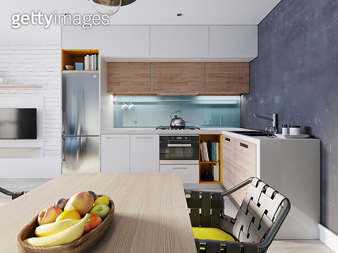 Kitchen in blue and white color with a dining table, contemporary style.