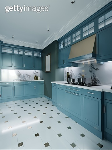 Modern kitchen furniture, dark turquoise color. Provence kitchen interior in fashionable design, faded coral, green color.