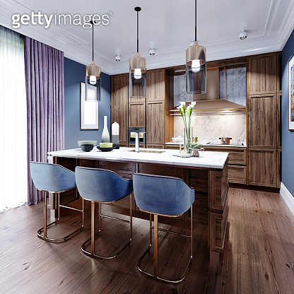 Fashionable designer kitchen with an island with a marble working surface, a kitchen in blue and brown colors, wooden furniture.