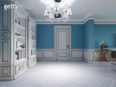 Design of a white-blue hallway with a sofa and two shelves with interior decor.