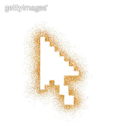 Computer arrow symbol on golden glitter isolated on white background