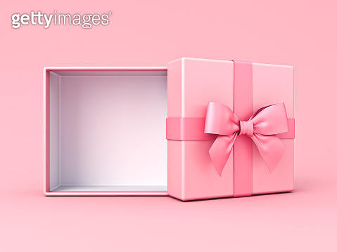 Blank pink pastel color present box or open gift box with pink ribbon and bow isolated on pink pastel color background with shadow minimal conceptual