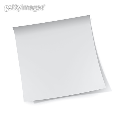 White sticky note paper isolated on white background with shadow 3D rendering