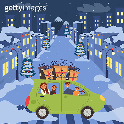 The car with the family goes to celebrate the new year