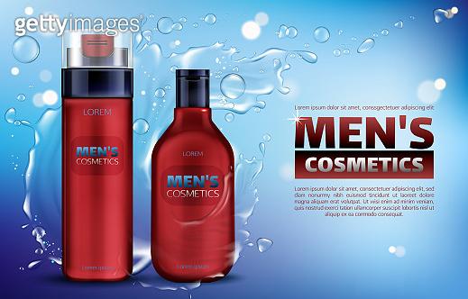 Men cosmetics shower gel, shampoo, shaving foam
