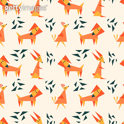 Children's seamless pattern with dog, hare and bird. Fun geometric background for fabric, Wallpaper and other surfaces.