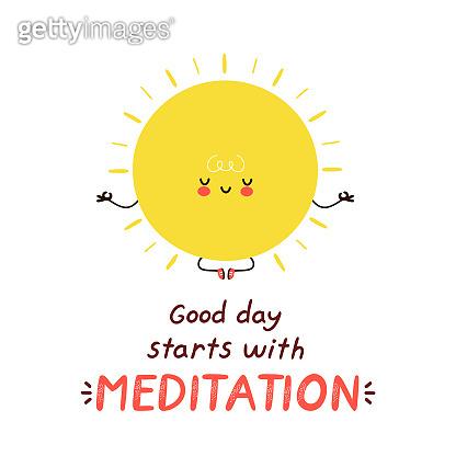 Cute happy funny sun meditate
