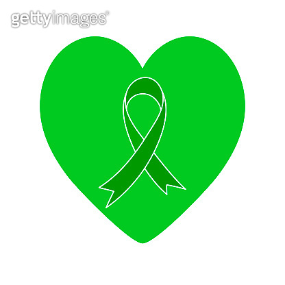 Green ribbon and green heart. Vector symbol isolated on white.