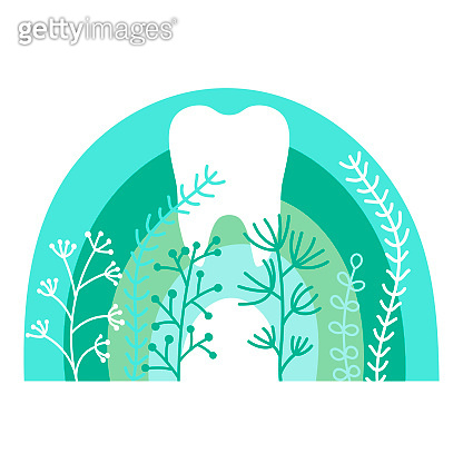 White healthy tooth on a background of rainbows and herbs. Mint and green colors, Flat style. The concept of oral hygiene and dental care. Vector hand-drawn illustration isolated on a white background