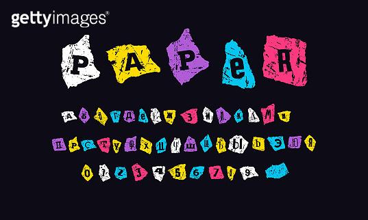 Decorative cyrillic font of zine collage style
