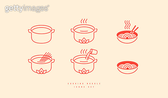 Icons set for soba noodle packaging