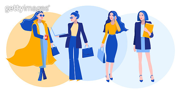 Vector illustration of successful business ladies