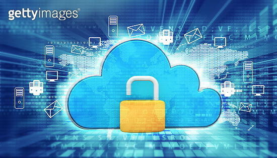 Cloud computing  icon with open padlock