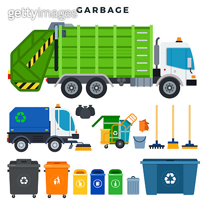 Garbage collection and disposal, set. Containers for separate waste collection and recycling. All for garbage removal. Vector illustration.