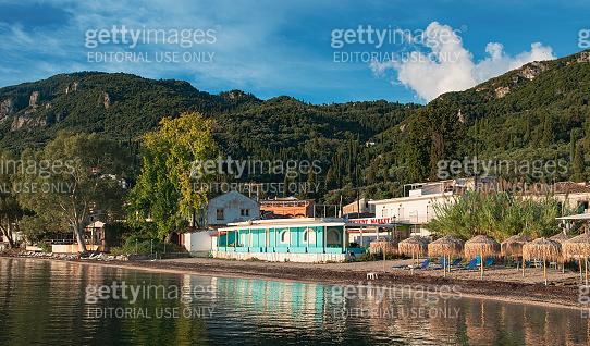 Mountains on Corfu island coast, Greece