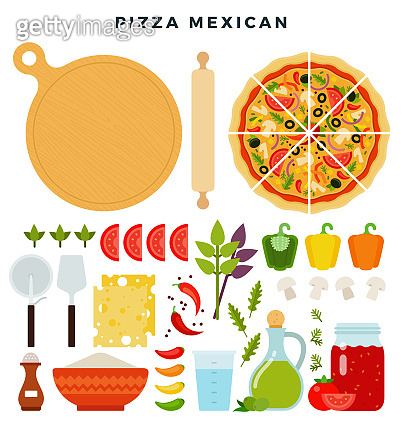 Pizza mexican and all ingredients for cooking it. Make your pizza. Set of products and tools for pizza making. Vector illustration.