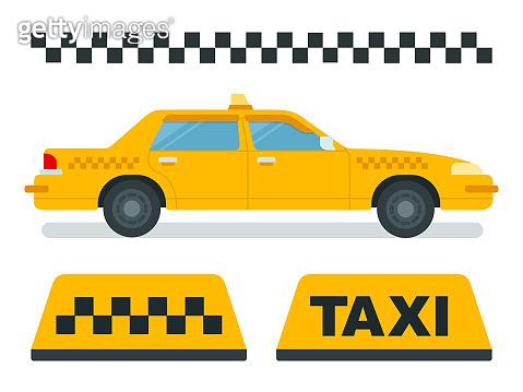 Concept taxi, yellow car, checkered taxi vector icons in flat design.