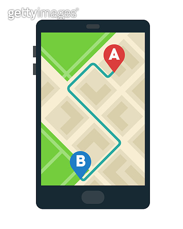 Route on the smart phone map vector icon flat isolated