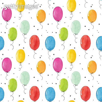 Seamless pattern with watercolor balloons isolated on white background.