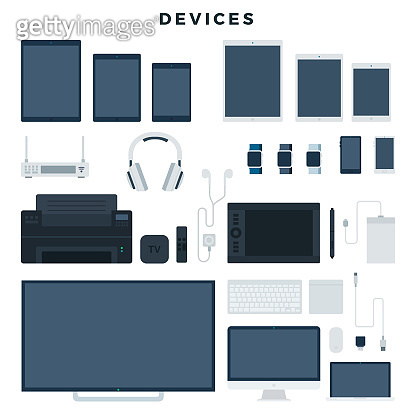 Modern electronic devices, set. Popular gadgets for office and home use. Vector illustration, isolated on white background.