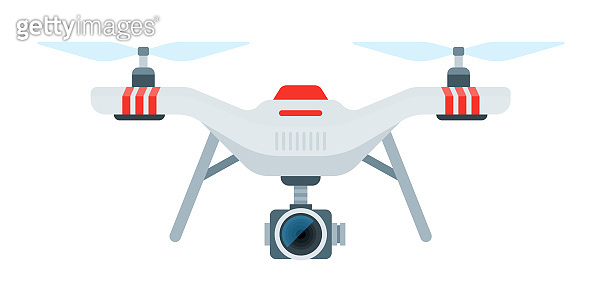 Drone with camcorder vector icon flat isolated