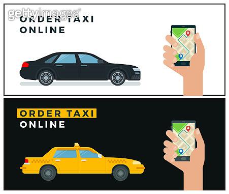 Banner order taxi online vector illustration in flat design.