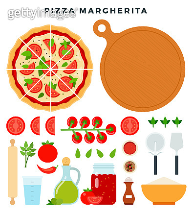 Classic pizza Margherita and all ingredients for cooking it. Make your pizza. Set of products and tools for pizza making. Vector illustration.