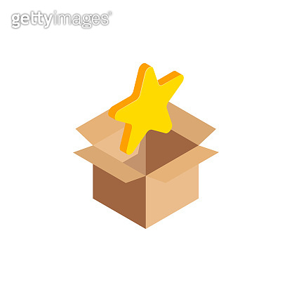 Isometric star icon in box