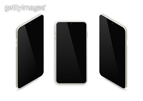Realistic isometric smartphone set. 3d metallic gray mobile phone with empty black screen and shadow top view on white background. Vector Illustration For Web, Application, mockup, app demo