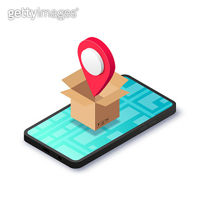 Isometric relocation concept box pin smartphone