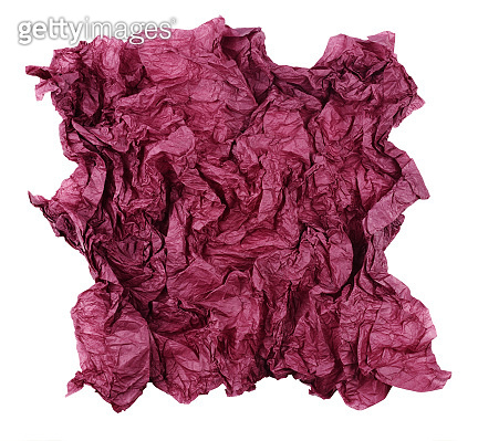 Crumpled red tissue paper isolated on white