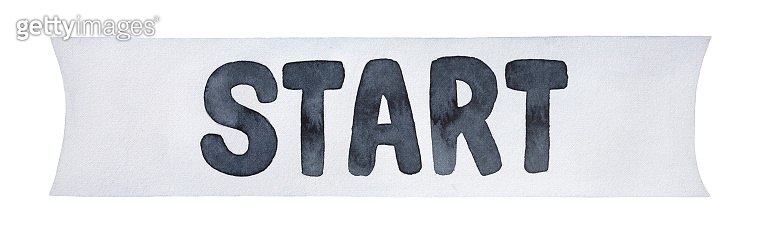 Black and white water color illustration of Start Line banner with letters. Hand painted watercolour grungy drawing, cutout clip art element for design, print, label, sticker, sport event poster.