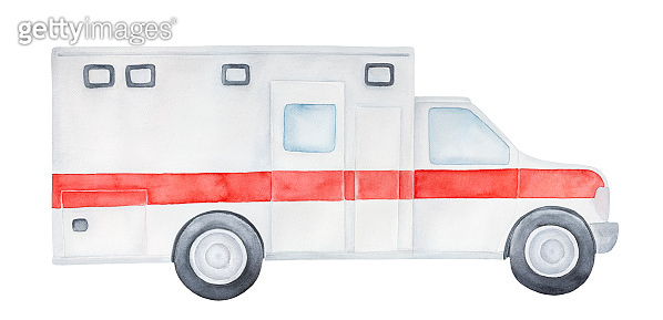 Water color illustration of white emergency ambulance car with bright red stripe in the center. Single object, side view. Hand painted watercolour graphic drawing, cut out clipart element for design.