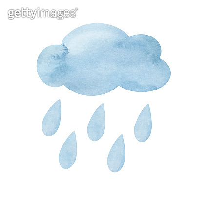 Watercolor illustration of pastel blue cloud with falling drops of rain. Hand drawn water color graphic paint on white background, cut out clipart elements for creative design, poster, banner, print.