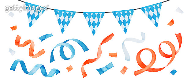 Watercolor drawing of festive garland with Bavarian flag and colorful confetti set. Blue, orange, white color. Hand drawn watercolour paint, cut out clip art elements for design, invitation, poster.