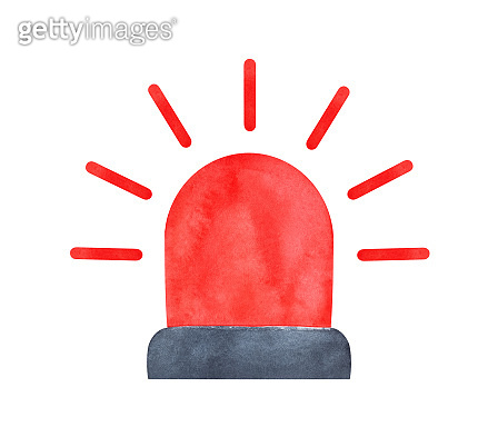 Water color illustration of red flashing siren. Sign of police force, urgency, emergency alarm. Hand painted watercolour graphic drawing on white, cut out clip art element for design, print, sticker.