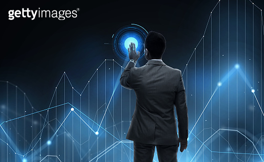 businessman working with virtual chart projection
